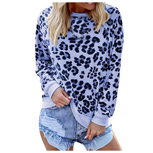 Neu Damen Freizeit Oberteile Langarmshirt,Lässige Langarm O-Ausschnitt Leopardenmuster Bluse Tops T-Shirt S-XXL (lila, XL) (Lila Sleeve Manschette Shirt)