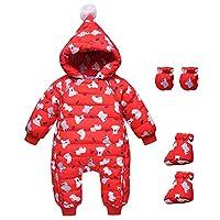 CADong Newborn Baby Snowsuit,Infant Hooded Romper Winter Jumpsuit Zipper Front,Infant Bodysuits Outfit One Piece Down Coat (Red, Tag 100cm/Age 9-12M)