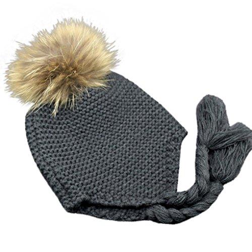 Für 1-4 Jahre altes baby Strickmützen,Amlaiworld Baby Ohrenschützer gestrickt warme Winter Mütze Hut (Grau)