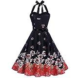Qmber Kleider Damen Kleid Vintage Brautjungfernkleid Petticoat Ballkleid Hepburn Cocktailkleid Rockabilly, Bodycon ärmelloses Halter Abend Partei Abschlussball Schwingen Kleid(5,X-Large)