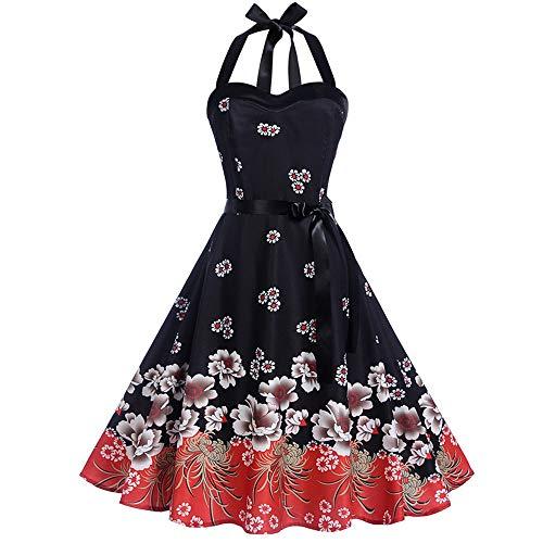 Qmber Kleider Damen Kleid Vintage Brautjungfernkleid Petticoat Ballkleid Hepburn Cocktailkleid Rockabilly, Bodycon ärmelloses Halter Abend Partei Abschlussball Schwingen Kleid(5,XX-Large) -