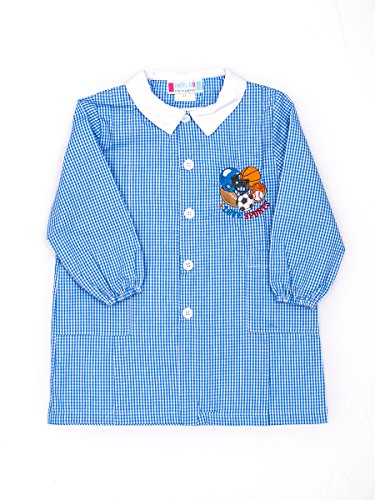 Andy&Giò Grembiule asilo bambino 90067 quadri blu e bianco (Quadri Blu, 2 anni)