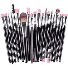 Tongshi 20pcs/set maquillaje cepillo conjunto herramientas maquillaje neceser Kit lana hacer arriba cepillo conjunto (Negro)