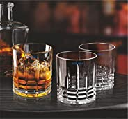 Syanka Diamond Old Fashioned Glass Whiskey Glasses Set of 6, Clear, 310ml