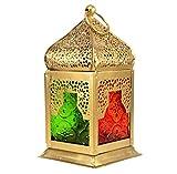 "eSplanade 6"" Moroccan Lantern Multi-Coloured Glass Hanging Lamp | Home Decor | Tealight"