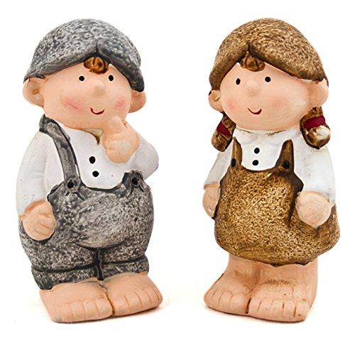 2x Deko Figur Wichtel Junge Mädchen aus Ton grau braun, 11cm, Gartenfigur Wichtelfigur Wichtelkinder für Wohnung Garten