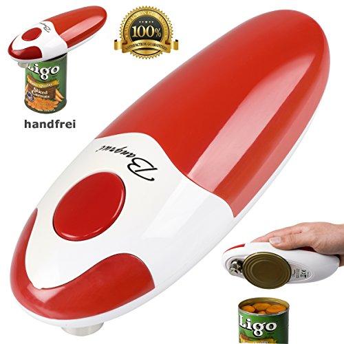 BangRui Handfrei Schnell Sicher Automatischer elektronischer Dosenöffner mit glattem Rand (Rot)