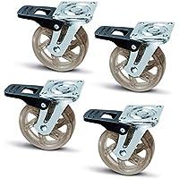 4 x SO-TECH® Rueda giratoria para Mueble Color Transparente Marrón Ø 75 mm con Freno