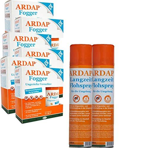 ARDAP Set 2 x 400 ml Flohspray + 8 x 100 ml Fogger gegen Flöhe und Ungeziefer