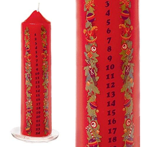 Premier Vela navideña de 20 cm con Fotos en Bandeja de Vidrio - Rojo Vela de Adviento de Navidad en Bandeja de Vidrio
