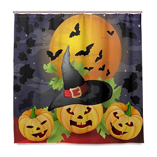 (Wamika Badezimmer Dusche Vorhang Halloween-Kürbisse Design Haltbarer Stoff Bad Vorhänge Schimmelresistent Wasserdicht Badezimmer 12Haken 183,0cm x183,0cm)