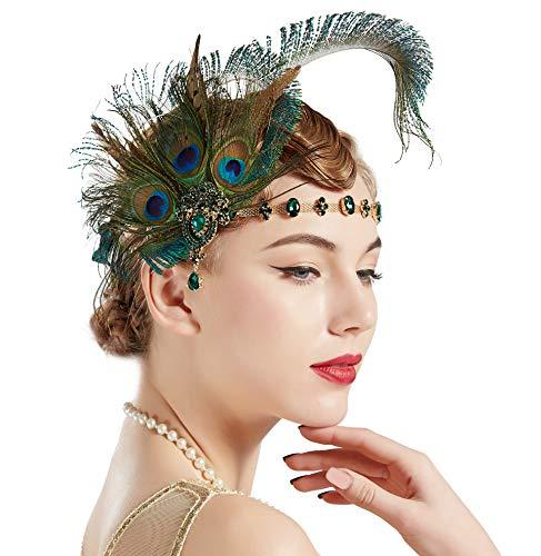Coucoland Damen 1920s Pfau Feder Stirnband 20er Jahre Stil Flapper Haarband Great Gatsby Damen Fasching Kostüm Accessoires (Grün)