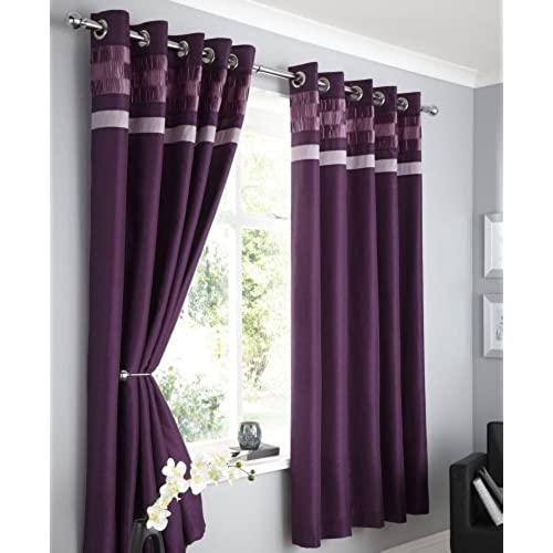 PLUM FAUX SILK LINED CURTAINS WITH EYELET RING TOP 66 X 90 OPULENCE