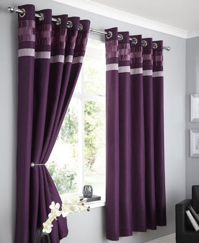 PLUM FAUX SILK LINED CURTAINS WITH EYELET RING TOP 90 x 90 OPULENCE
