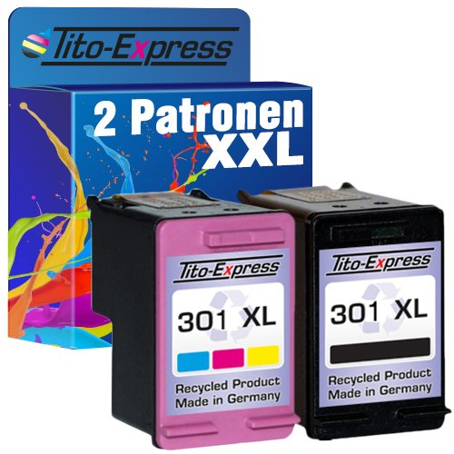 PlatinumSerie Set 2x Tinten-Patrone kompatibel für HP 301 XL Black & Color Officejet 2620 2622 4630