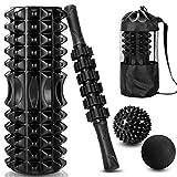 SACONELL 4 In 1 Black Foam Roller & Massage Stick Set Deep Tissue Foam Roller Kit met 2 Massage Ballen en een Massage Roller Stick voor Fitness, Yoga, Ontspanning en Pilates
