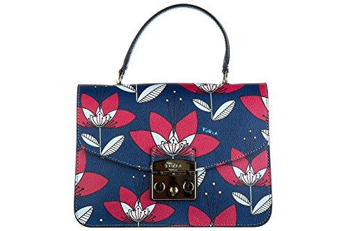 Furla-Leder-Handtasche-Damen-Tasche-Bag-metropolis-blu