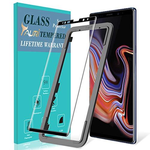 TAURI Schutzfolie für Samsung Galaxy Note 9 Panzerglas, [Alignment Frame Einfache Installation] [Volle Abdeckung] [9H Härte] Gehärtetem Glas Folie Hartglas Displayschutzfolie - Schwarz -