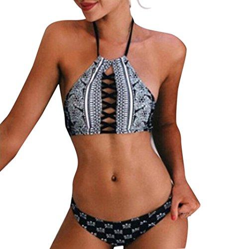 Damen Badeanzug Jamicy® Badeanzug reizvolle Badebekleidungs Frauen Schwimmen Strand Abnutzungs Druck Verband Badeanzug Schwarz