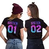 JWBBU Best Friends T-Shirt für Zwei Damen Mädchen Shirts Freundin Freunde BFF Freundschaft Geburtstagsgeschenk 2 Stücke Sommer Baumwolle Tops (Schwarz,Sister-01-S+02-M)