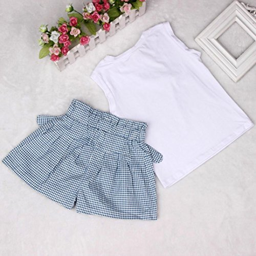 For 2-7 years old,Clode®Fashion Girls Summer Cute Bow Girl Pattern Shirt Top And Grid Shorts Two Pieces Set Clothes Skirt Suit