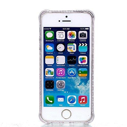 Coque iPhone 5s / SE / 5, Sunroyal® Semi-Transparent Hybrid Etui Housse de Protection TPU Silicone Gel Souple Clair Crystal Case Cover avec Absorption de Choc Bumper et Anti-Scratch Bumper pour iPhone Pattern 04