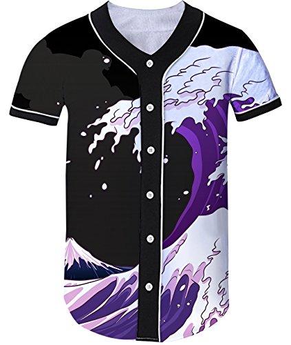 Loveternal Great Wave Ukiyoe Japanische Kunst Gedruckt Baseball Jersey Softball Sport Shirt Top für Männer Frauen L (Baseball-kunst-drucke)