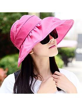 Las mujeres Visor Hat ala ancha Tapa de protección anti-UV de disquete de verano Sol Sombrero plegable ,rosy HNAA