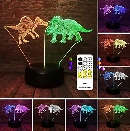 ZNNYE 3D Nachtlicht Kinderheim Neue Herrschsüchtige Tyrannosaurus Dinosaurier Drache Jurassic Park 7 Farbe Nachtlicht Junge Schlafzimmer Dekoration Geburtstagsgeschenk