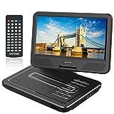WONNIE 10,5' Lecteur DVD portable avec un écran rotatif 270°, Carte SD et prise USB avec charge directe Formats / RMVB / AVI / MP3 / JPEG, Parfait pour Enfants (Noir)