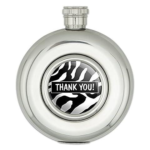 Round Stainless Steel 5oz Hip Flask Thank You Gratitude - Zebra Print Bridal Wedding Shower