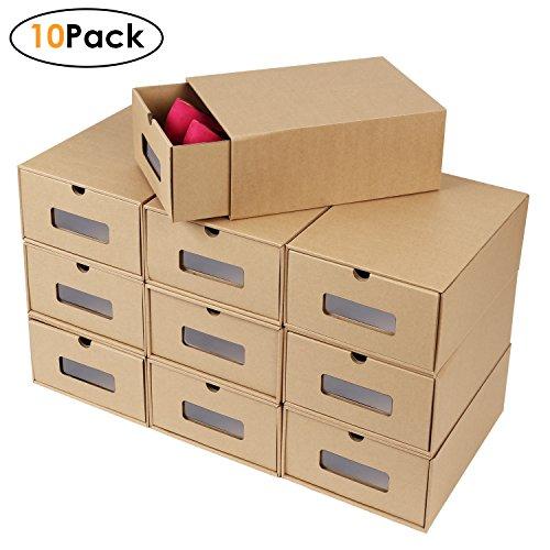 FEMOR Schuhaufbewahrung Set 10XAufbewahrungsbox Stapelbar Storage Box for shoes Schuhbox Schuhkarton Schuhschachtel Allzweckbox Schublade Pappe aus Kraftpapier
