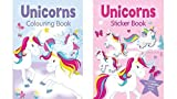 Express Goods Unicorn Sticker Book and Unicorn Colouring Book - Set of 2 Books