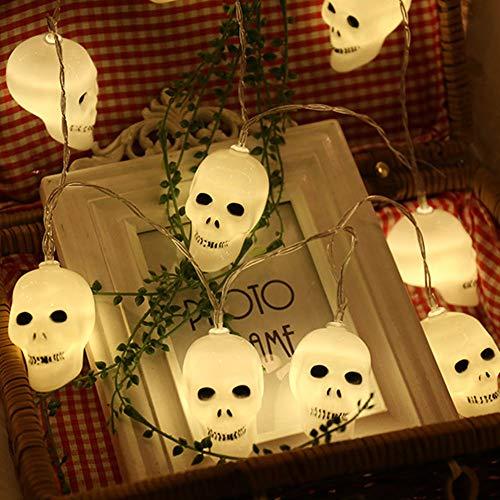 Le luci della stringa della decorazione di halloween 16.4ft 40 led 3d cranio accende le luci all'aperto dell'interno a pile a pile del cranio