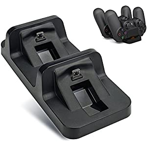 BONUSIS PS4 Controller Ladestation PS4-Controller-Ladegerät Dual-USB-Lade-Ladegerät Docking Station Stand für Sony Playstation 4 PS4 / PS4 Pro / PS4 Slim Controller [Schwarz]