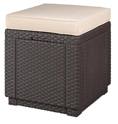 Allibert 206721 Hocker mit Kissen Cube w/ cushion, Rattanoptik, Kunststoff