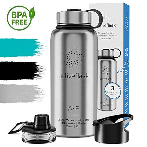 Trinkflasche ACTIVE FLASK Isolierflasche + 3 Trinkverschlüsse | BPA frei 950ml Vakuum isolierte Edelstahl Thermosflasche | Classic Stainless