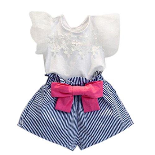 Kolylong 1 Set Baby Mädchen Sommer Baumwolle gemischt Anzug (T-Shirt + kurze Hosen) (120) (The Fruit Loom-mädchen Unterwäsche Of)