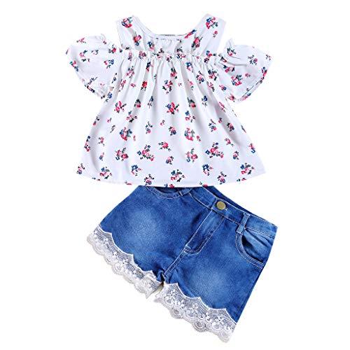 leidungssets Neugeborenes Print T-Shirt Tops Mode T-Shirt Baby Mädchen Schulterfrei Print Tops Shirt +Spitze Denim Pants Outfits Sets ()