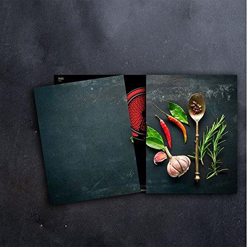 DAMU Herdabdeckplatten 2 x 40 x 52 cm Ceranfeldabdeckung Schutz Herdblende 80x52 2teilig Glas Spritzschutz Abdeckplatte Glasplatte Herd Ceranfeld Abdeckung Schneidebrett Gewürze Chilli Schwarz