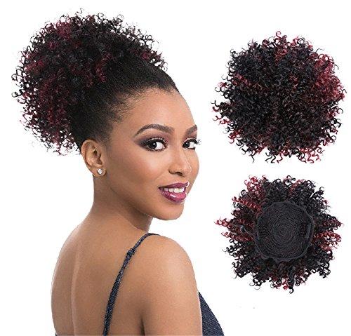 Star sintetico bouclé capelli coda di cavallo parrucche africano americano breve afro kinky bouclé confezione capelli extension con clip 8115g