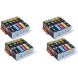 Start - 20 XL Ersatz Chip Patronen kompatibel zu Canon PGI-550BK XL Schwarz, CLI-551BK XL Foto-Schwarz, CLI-551C XL Cyan, CLI-551M XL Magenta, CLI-551Y XL Gelb für Canon Pixma iP7250, iP8750, iX6850, MG5450, MG5550, MG6350, MG6450, MG7150, MX725, MX925