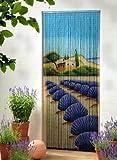 Bambusvorhang Türvorhang Dekovorhang Modell Lavendel 90 Stränge 90cm x 200cm mit Aufhängeleiste