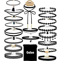 Outee 20 PCS Black Choker Necklace Set Colliers Velvet Choker Vintage Elastique pour Femmes