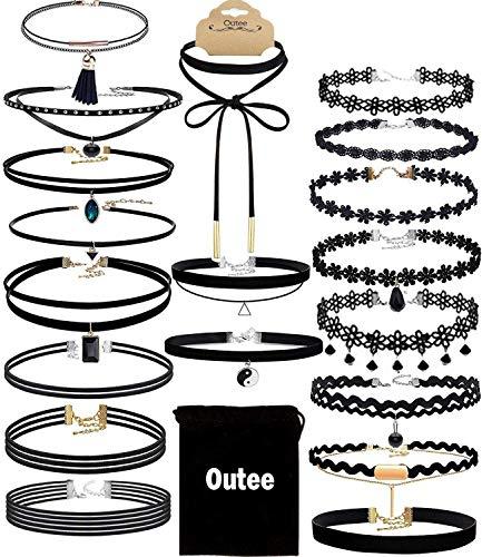 Outee 20 PCS Black Charm Gargantilla Set Collares Gargantilla de terciopelo CláSico Tatuaje GóTico Encaje Gargantilla para las niñas Mujeres