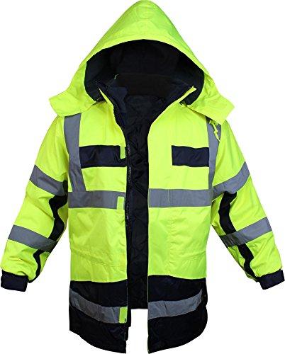 Preisvergleich Produktbild Warnschutz-Parka mit Kapuze EN 20471 und EN 343 Neongelb Gr. S - XXXXL Farbe Neongelb / Marine Größe XXXL