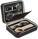 Uhrenetui zur Aufbewahrung von 4 Uhren - Schwarz 18 x 13 x 6 cm - Uhrenbox zur Präsentation Ihrer Armbanduhren - Grinscard