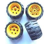 LEGO Technic - 4 Räder mit 43,2x26 Ballonreifen mit Felge in gelb für Technik - Sets - 56145 / 61481