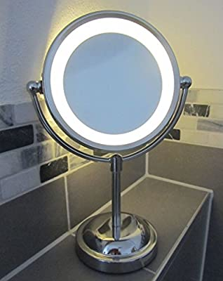Round Magnifying LED Illuminated Bathroom Make Up Cosmetic Shaving Vanity Mirror