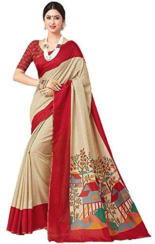 Saree World womens Cotton Khadi Silk Printrd Saree with Blouse Piece Material